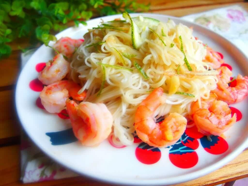 百福友白髮素麵料理食譜-檸檬鮮蝦拌麵線 - 1