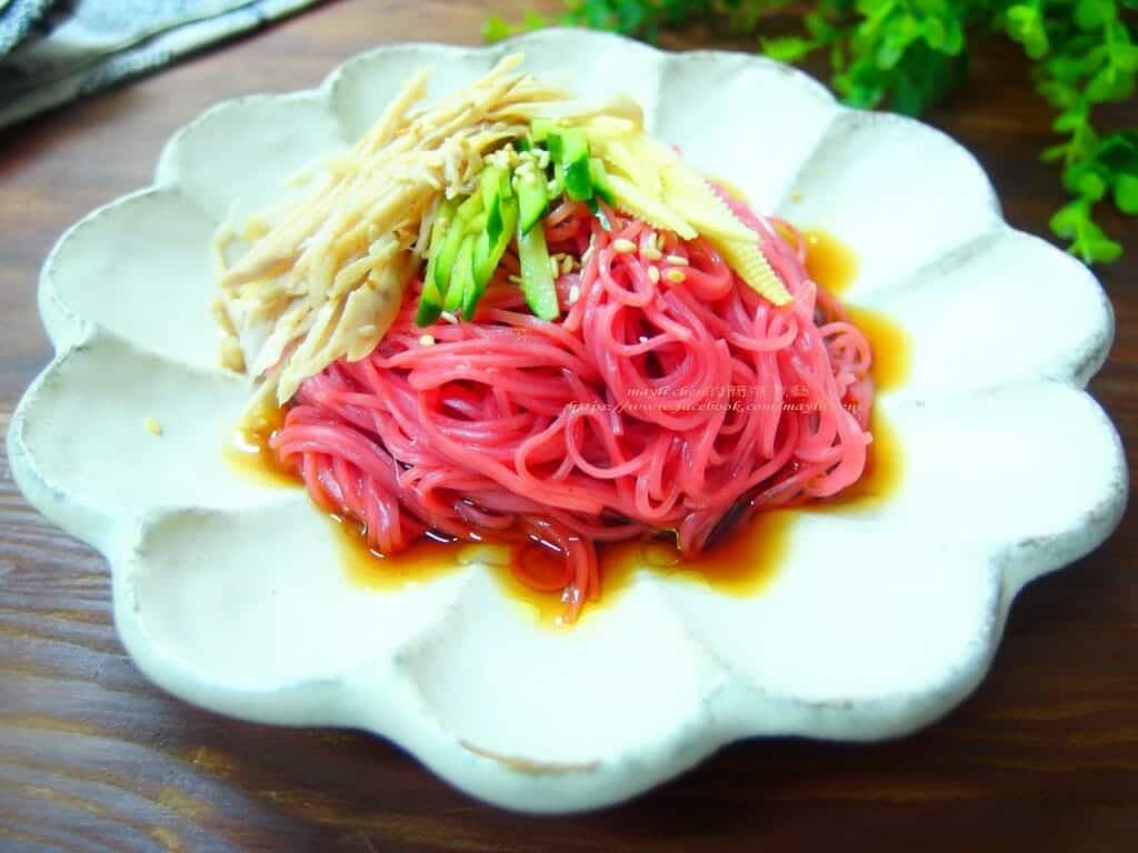 紅麴麵線料理食譜-雞絲紅麴麵線佐和風醬 - 1