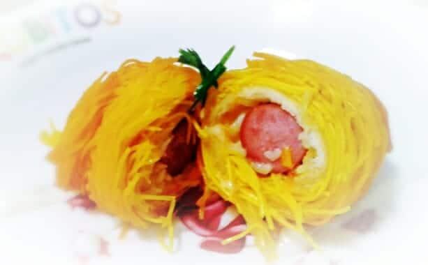 薑黃麵線料理食譜-熱狗銀絲卷 - 1