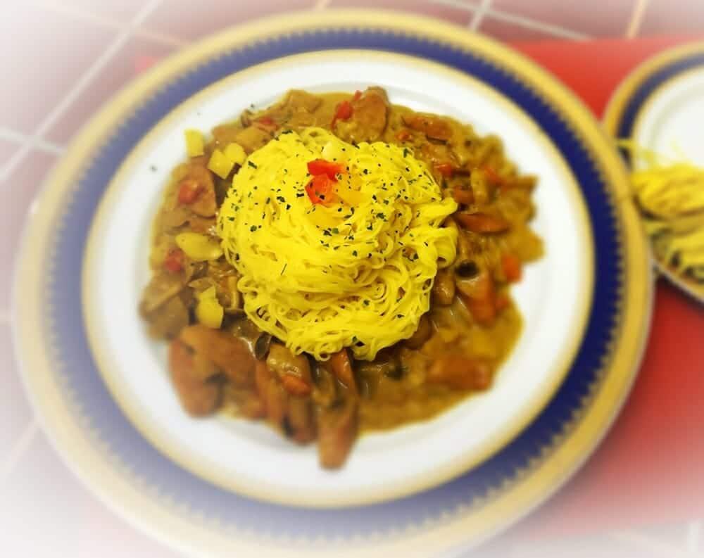 薑黃麵線料理食譜-椰汁咖哩燴薑黃麵 - 1