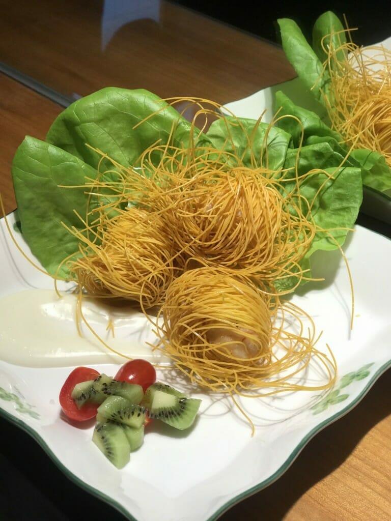薑黃麵線料理食譜-龍捲薑黃麵線蝦仁捲 - 1