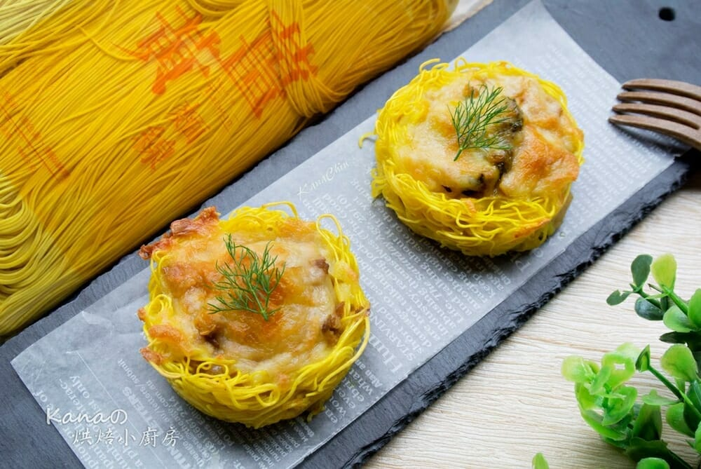薑黃麵線料理食譜-薑黃麵線咖哩塔 - 1