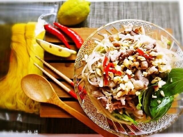 薑黃麵線料理食譜-乾拌牛肉麵線 - 1