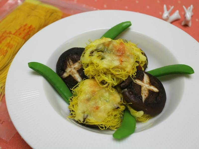 薑黃麵線料理食譜-薑黃麵線焗嫩菇 - 1