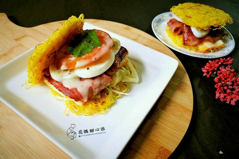 薑黃麵線料理食譜-薑黃麵培根漢堡 - 1