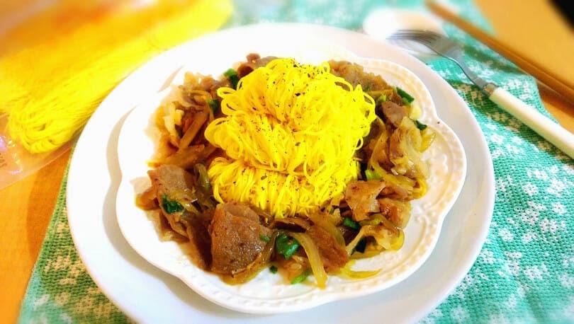 薑黃麵線料理食譜-燒肉拌麵 - 1