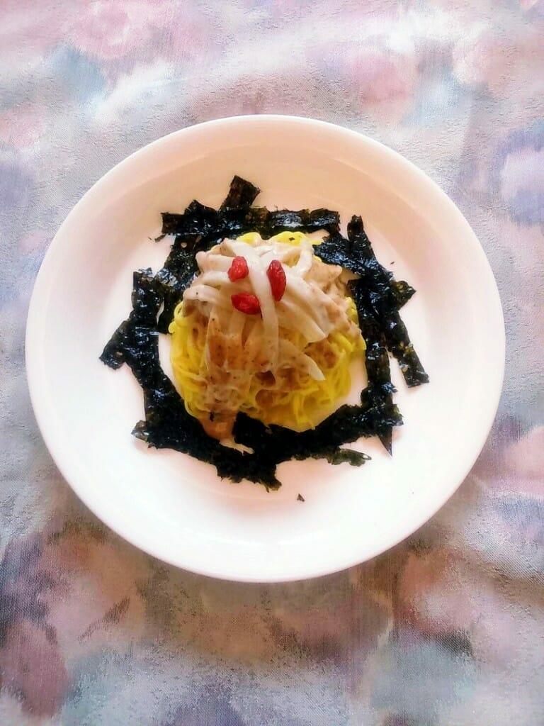 薑黃麵線料理食譜-杏鮑菇芝麻醬涼拌薑黃麵線 - 1