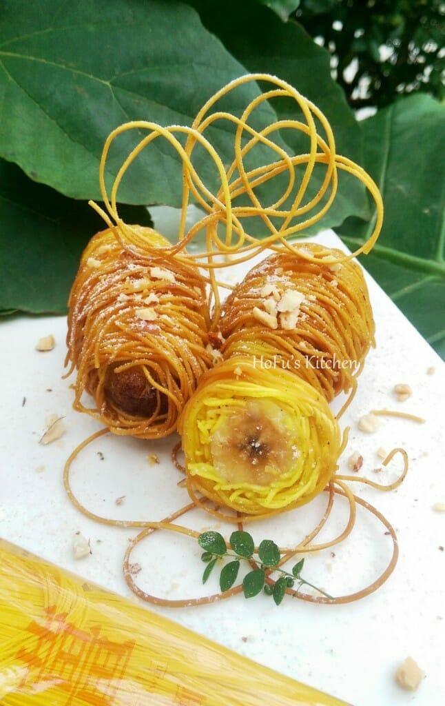 薑黃麵線料理食譜-金絲香蕉捲 - 1