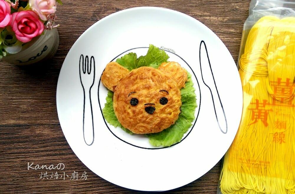 薑黃麵線料理食譜-小熊維尼培根薑黃麵線蛋煎 - 1