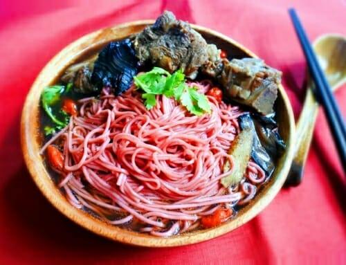 紅麴麵線料理食譜-藥膳排骨紅麴麵線